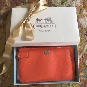 Authentic Coach wristlet with box/ribbon & tags